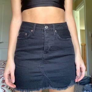 American Eagle Black Denim Distressed Mini Skirt